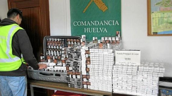 Aprehendidas en Cartaya más de 3.000 cajetillas de tabaco procedentes del contrabando