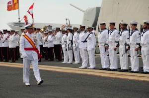 """La fragata """"Cristóbal Colón"""" recibe su Bandera de Combate en Palos de la Frontera."""