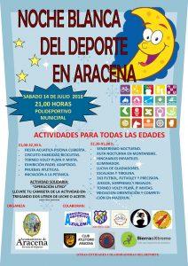 Cartel anunciador de la Noche Blanca del Deporte en Aracena.