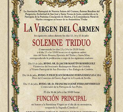 La futura Hermandad del Carmen de Huelva celebra solemne triduo en honor a su titular