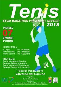 Cartel anunciador del Maratón de Tenis 'Virgen del Reposo' que tendrá lugar en Valverde del Camino.