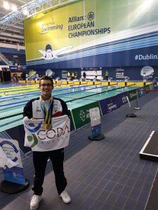 David Sánchez, con las medallas obtenidas en Dublín.