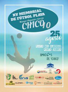 Cartel del XV Memorial de Fútbol Playa en homenaje a 'Chico'.