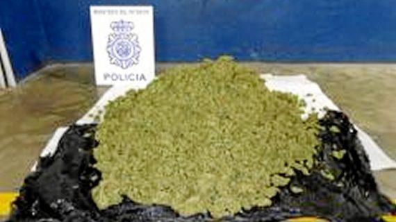 Tres personas detenidas por portar más de siete kilos de marihuana en Huelva