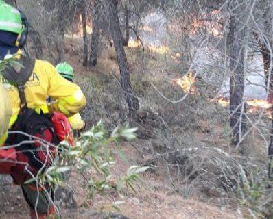 Gran despliegue para combatir un incendio forestal en Nerva