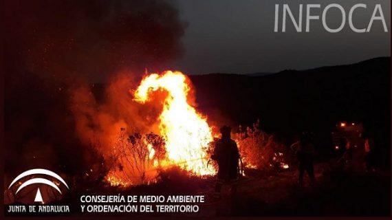 Los medios aéreos vuelven a incorporarse al incendio forestal de Nerva tras una intensa noche