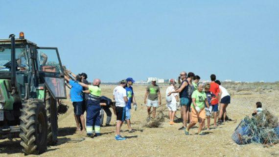 Medio centenar de voluntarios recogen dos toneladas de residuos en la playa de El Espigón
