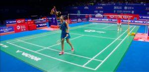 La onubense mostró intratable ante la china a la que volvió a ganar. / Foto: Captura TV.