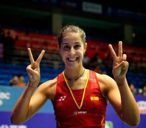 Carolina Marín, contenta tras acceder a los cuartos de final del Abierto de China. / Foto: Bádminton Photo.