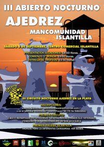Cartel del torneo de ajedrez que tiene lugar este sábado en Islantilla.