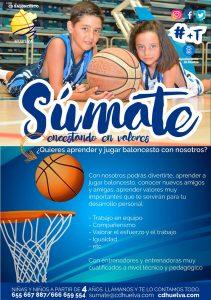 Cartel de la campaña de captación de niños y niñas para la temporada 2018-19 del Ciudad de Huelva.