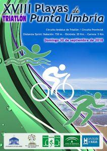 Cartel del triatlón que tendrá lugar en Punta Umbría el próximo 30 de septiembre.
