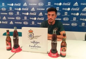 Alberto Quiles, que puede tener el domingo sus primeros minutos con el Recre, habló este jueves en rueda de prensa. / Foto: @recreoficial.