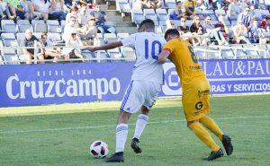 Alberto Quiles debutó con la camiseta del Recre en el duelo ante el UCAM Murcia. / Foto: Pablo Sayago.