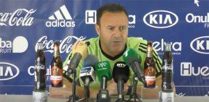 José María Salmerón, entrenador del Recre, durante la rueda de prensa de este viernes. / Foto: Captura imagen recre.org.