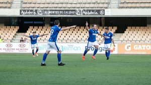 Jorge Herrero celebra el gol que derrotó al San Roque en Chapín. / Foto: @XerezDFC.