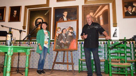 Alfonso Aramburu dona una pintura de 'El Brujo' a la Peña Flamenca de La Orden
