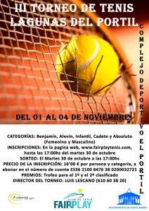 Cartel del torneo de tenis que se celebrará en El Portil.