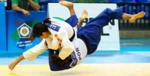Un momento del combate de Cinta García ante la portuguesa Siderot. / Foto: European Judo Union-Gabriel Juan.