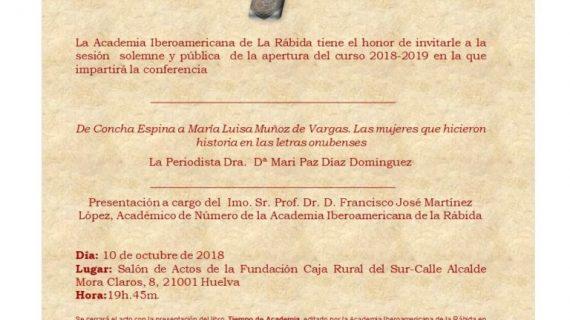 Inauguración del Curso en la Academia Iberoamericana de La Rábida, este miércoles en la Caja Rural del Sur