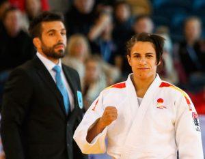 Cinta García, contenta tras lograr el bronce en Glasgow. / Foto: European Judo Union-Gabriel Juan.
