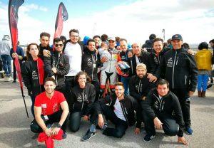 Componentes del Motoetsiuhu Team, segundos en la carrera de la MotoStudent en Alcañiz.