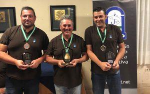 Podio onubense en el XXIX Campeonato de Andalucía de Pesca desde Embarcación Fondeada. / Foto: wordpress.fapd.net.