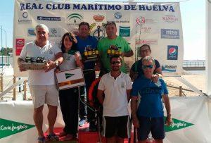 Podio del Concursos de Pesca, Mar-Costa 'Virgen del Pilar 2018', en la modalidad de Embarcación fondeada.