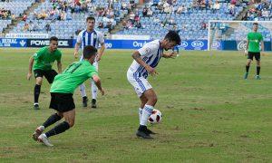 El Recre se mostró muy ordenado en todo momento en el partido ante el Almería B / Foto: Pablo Sayago.