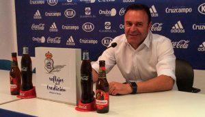 José María Salmerón, entrenador del Recre, en rueda de prensa. / Foto: @recreoficial.