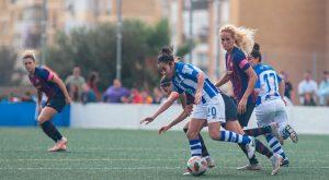 Poco pudo hacer el Sporting Puerto de Huelva en su partido ante el Barcelona. / Foto: www.lfp.es.