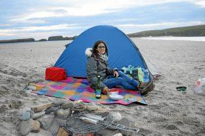 Disfrutando en un camping en la isla de St Ninian.