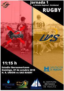 Cartel del histórico partido del Huelva Unión Rugby en su estreno en la Segunda División Andaluza.