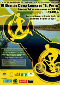 Cartel anunciador del VI Duatlón Cros 'Laguna de El Portil' que tendrá lugar el 24 de noviembre.