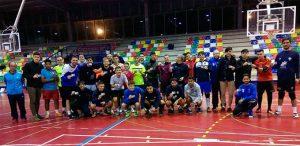 Los jugadores del CD San Juan FS con el carnet.