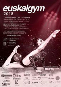 Cartel de la Gala Internacional Euskalgym en Bilbao, a la que acude el Rítmico Colombino.
