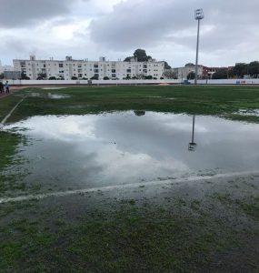 Estado del terreno de juego en Isla Cristina donde se pudo jugar. / Foto: @islacristinafc.