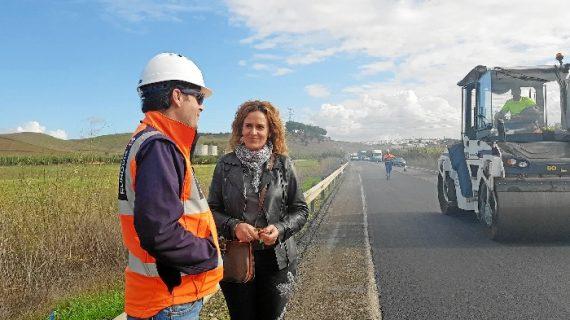 Continúan a buen ritmo las obras de la carretera A-486 de Lucena del Puerto
