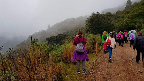 Un total de 420 aficionados desafían a la niebla y la lluvia en la III Concentración Senderista 'Ciudad de Aracena'
