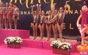 Conjunto Alevín Absoluto del Gimnasia Rítmica Huelva, bronce en Marbella.