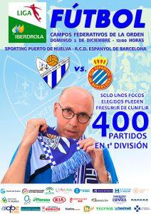 Cartel del partido del domingo ante el Espanyol, que será el 400 de Antonio Toledo en la Primera División Femenina.