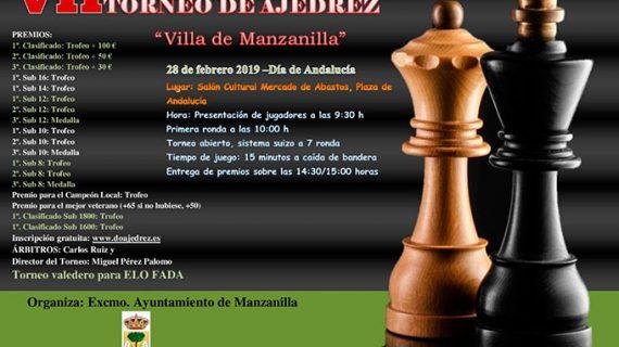Abierto el plazo de inscripción para el VII Torneo de Ajedrez Villa de Manzanilla