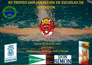 Cartel del XII Trofeo San Sebastián de Escuelas de Natación, que tendrá lugar en el Andrés Estrada este sábado.