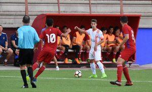 Atlético Onubense y La Palma empataron a uno en un partido igualado. / Foto: David Limón.