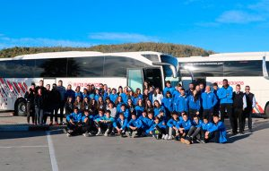 Las selecciones gallegas llegando a Huelva.