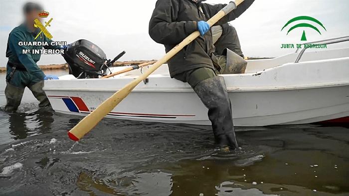 Sorprendidos dos varones realizando pesca furtiva en el Paraje Natural Marismas del Odiel