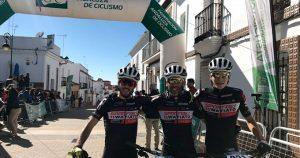 Podio masculino en El Granado, en la prueba que abrió el Circuito Provincial Diputación de Huelva BTT Rally 2019.