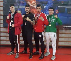 Representantes onubenses en la reunión boxística celebrada en Lisboa.