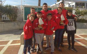 Componentes del Club Deportivo Náutico de Punta Umbría en la Copa de Andalucía de Óptimist.