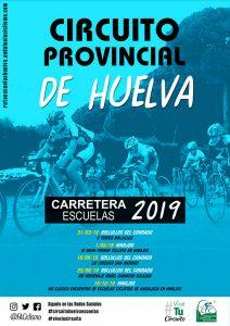 Cartel del Circuito Provincial de Huelva Carretera Escuelas de Ciclismo que comenzará el 31 de marzo en Bollullos.